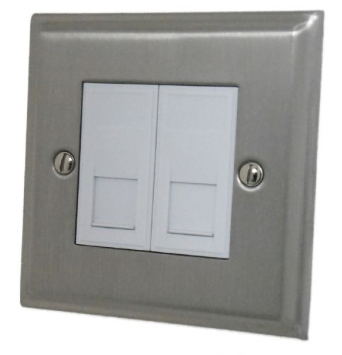 G&H DSN63W Deco Plate Satin Nickel 2 Gang Master BT Telephone Socket